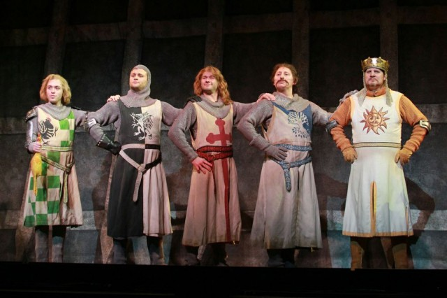 (L to R) Kasidy Devlin (Sir Robin), Adam Grabau (Sir Lancelot), Joshua Taylor Hamilton (Sir Dennis Galahad), Thomas DeMarcus (Sir Bedevere), and Arthur Rowan (King Arthur). Photo credit: Courtesy of Monty Python's Spamalot.