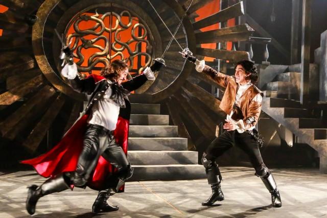 Peter Pereyra as Rochefort and Dallas Tolentino as D'Artagnan / courtesy Johnny Shryock