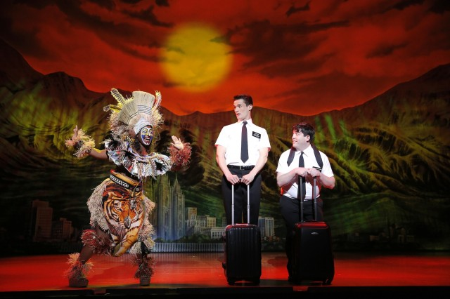 Phyre Hawkins, Mark Evans, Christopher John O'Neill - The Book of Mormon First National Tour - Joan Marcus, 2013
