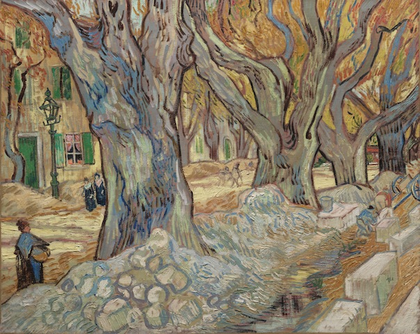 Vincent van Gogh, The Large Plane Trees (Road Menders at Saint-Rémy), 1889. Oil on fabric, 28 7/8 x 36 1/8 in. The Cleveland Museum of Art. Gift of the Hanna Fund, 1947