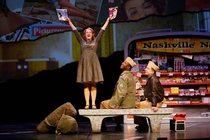 "Erin Driscoll as Violet with Kevin McAllister and James Gardiner in the Ford's Theatre production of the musical ""Violet,"" directed by Jeff Calhoun. Photo by Carol Rosegg."