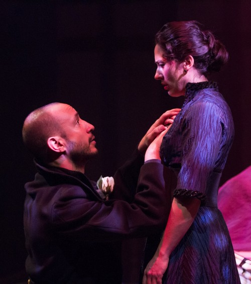 Richard (Drew Cortese) pleads with Lady Anne (Alyssa Wilmoth Keegan) in Richard III, at the Folger Theatre January 28 – March 9, 2014. Photo by Teresa Wood.