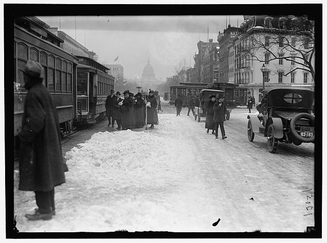 Pennsylvania Ave. with snow (estimated: 1913-18)