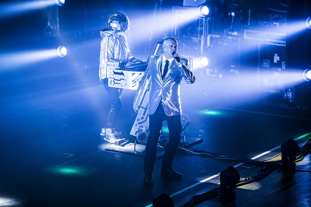 Neil Tennant (front) and Chris Lowe dominate the Thomas Wolfe Auditorium (Photo courtesy Moogfest)