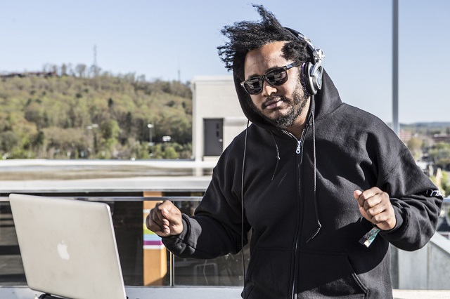 Thundercat DJs the roof of the Aloft Hotel (Photo courtesy Moogfest)