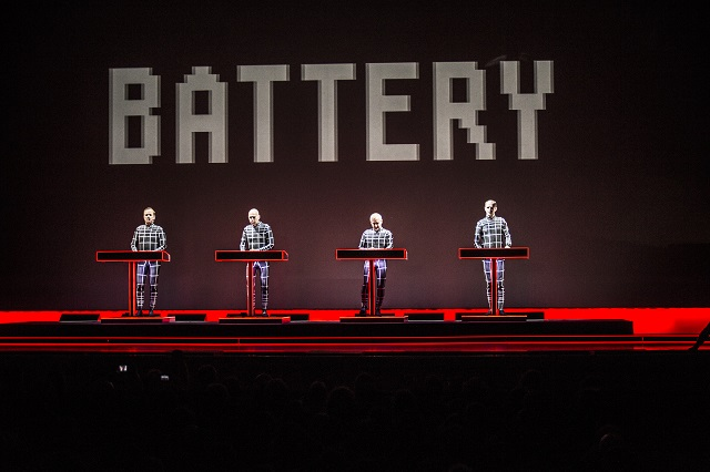 Ralf Hütter (left) leads Kraftwerk in a Moogfest performance (Photo courtesy Moogfest)