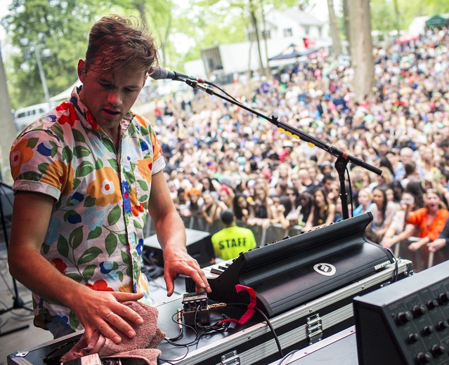 St. Lucia's sunny clothes reflected their upbeat music. (Photo courtesy Sweetlife Festival.)