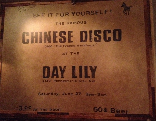 A sign advertising the original night at the Day Lily hangs inside the new club.